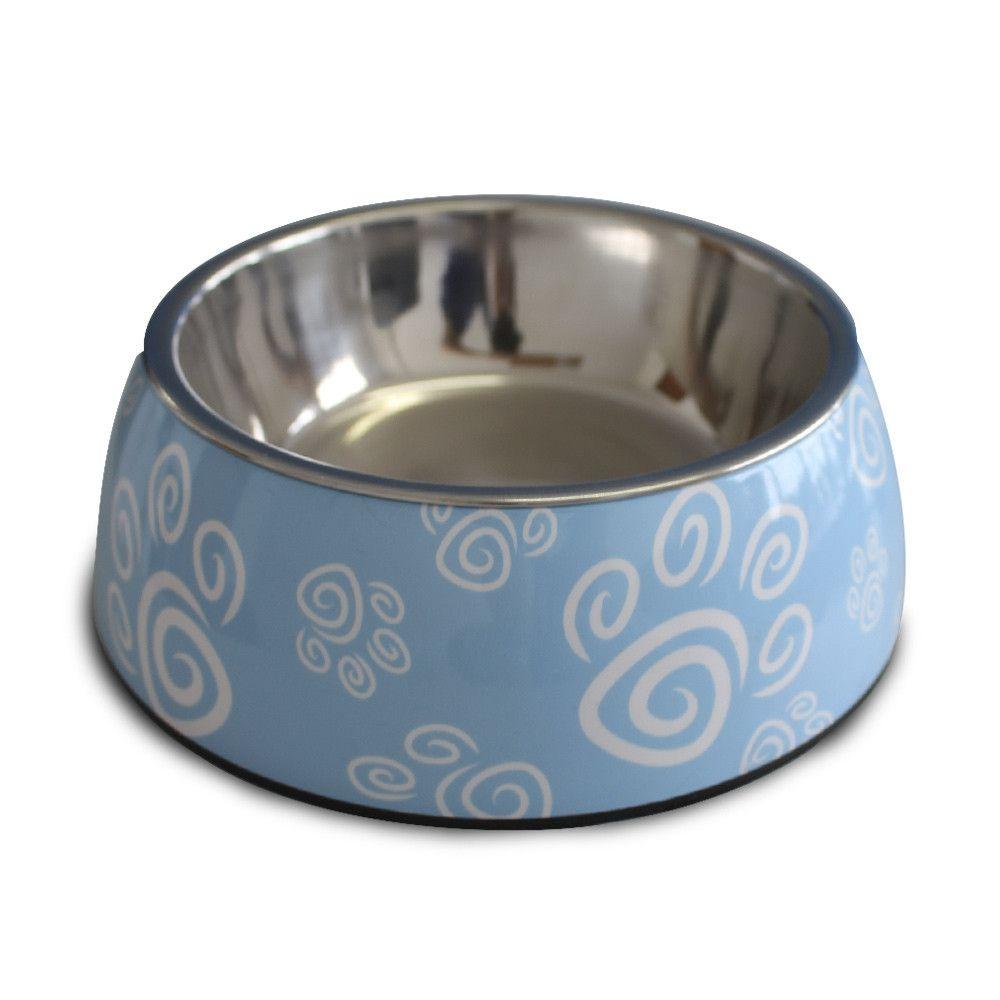 Comedouro para cães e gatos em inox e melamina Melanox Pet Flex 400ml Azul Tam G