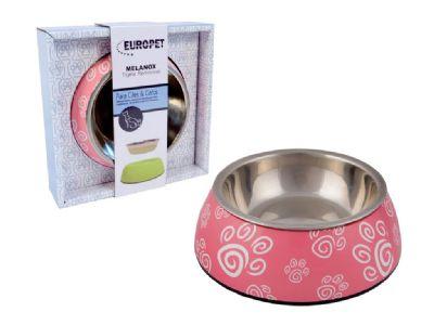 Comedouro para cães e gatos em inox e melamina Melanox Pet Flex 400ml Rosa Tam G