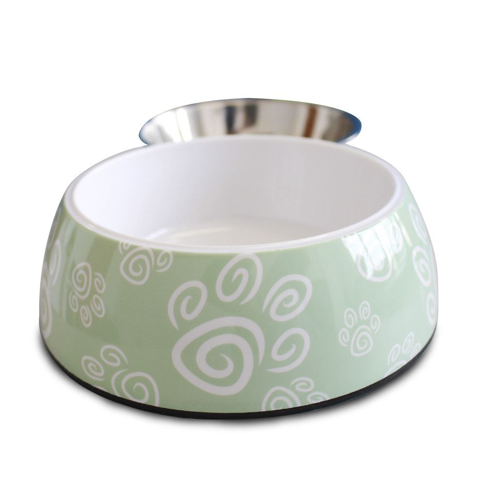 Comedouro para cães e gatos em inox e melamina Melanox Pet Flex 400ml Verde Tam G