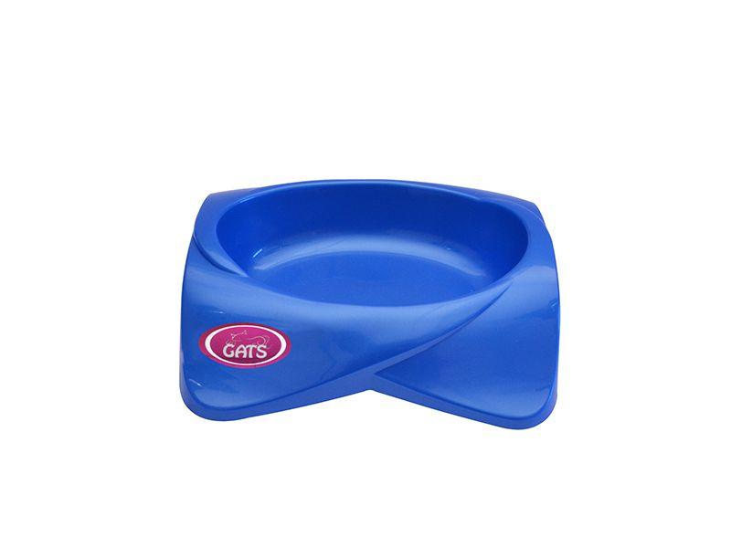 Comedouro para gato Pet Flex Azul 250ml + 6 Sachês Friskies Sabores variados