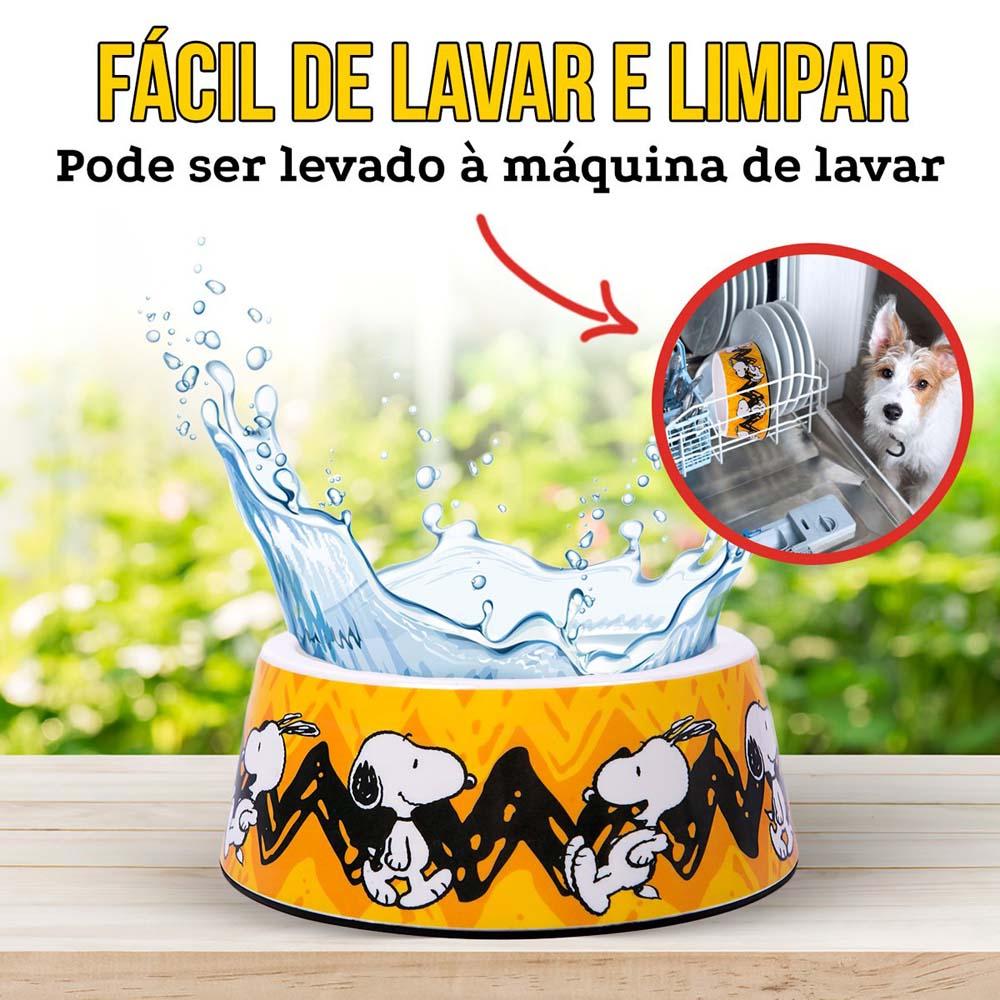 Comedouro Snoopy Charlie Brown para Cachorro ou Gato Amarelo G 22cm x 8,50cm 750ml