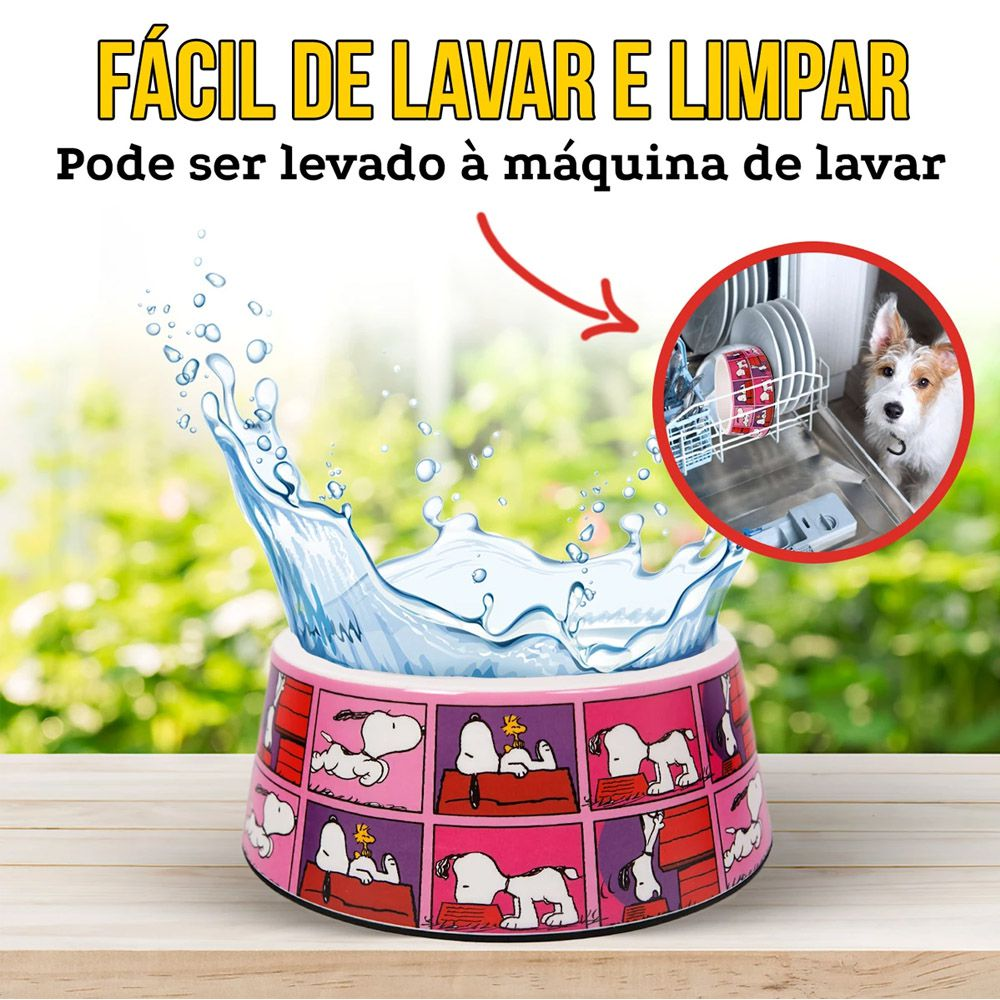 Comedouro Snoopy Pink para Cachorro ou Gato Snoopy Quadrinhos Rosa Pink M 16cm x 6cm 450ml