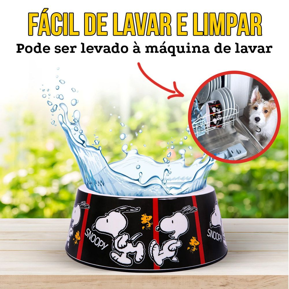 Comedouro Snoopy Quadrinhos Film Black para Cachorro ou Gato Snoopy Tirinha Black G 22cm x 8,50cm 750ml