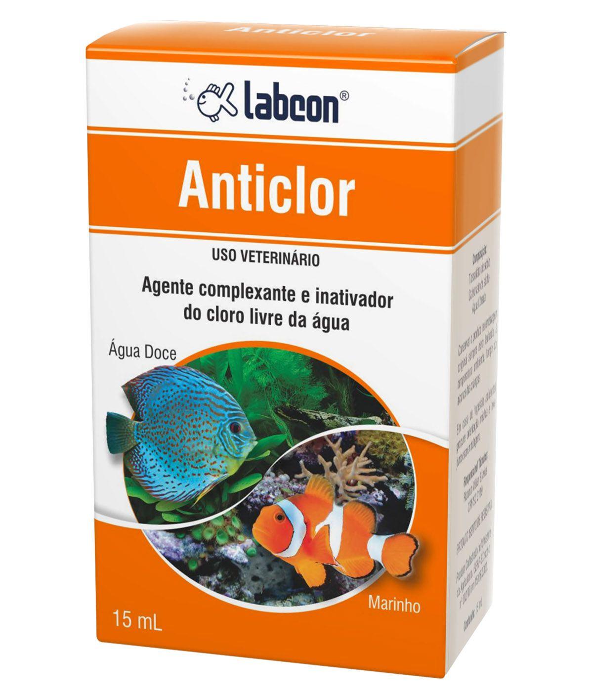 Condicionador de água de aquário Anticloro Labcon - Elimina cloro de água de áquario 15ml