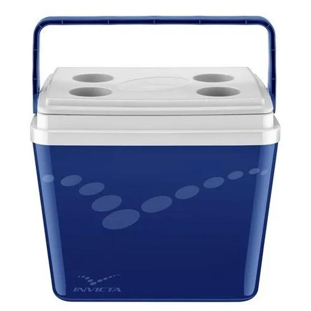 Cooler Caixa Térmica Invicta Pop Azul 34L - Tampa articulada com porta latas ou garrafas (Capacidade média 43 Latas)