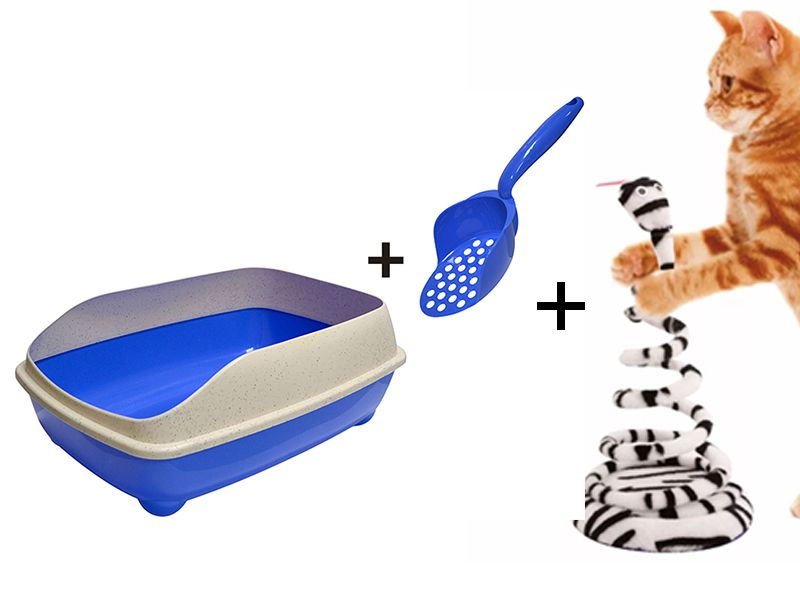 Caixa de Areia de gato com pá coletora Pet Flex Azul + Brinquedo João Bobo Branco Gatos Chalesco