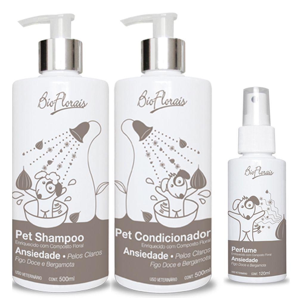 Combo Kit banho para cachorro Tratamento Ansiedade Pelos Claros: Shampoo Condicionador e Perfume Bioflorais