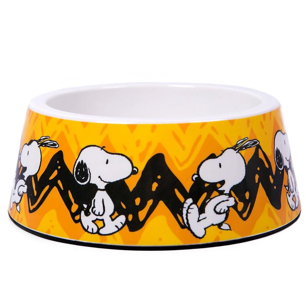 Comedouro Snoopy Charlie Brown para Cachorro ou Gato Amarelo M 16cm x 6cm 450ml
