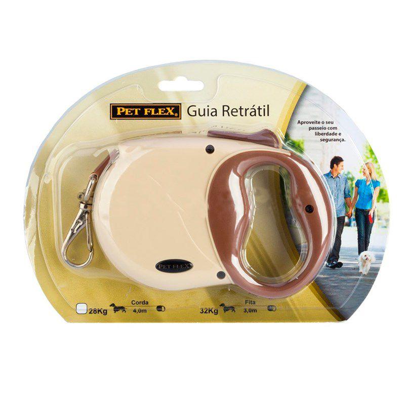 Guia Retrátil recolhivel extensível Soft Pet Flex para cachorros até 32 KG Fita com 3 metros - Marrom Capuccino