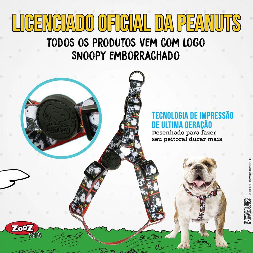 Peitoral para cachorro Zooz Pets Snoopy Film Black Quadrinho preto e branco tamanho M (Ajustável 45 - 65cm)