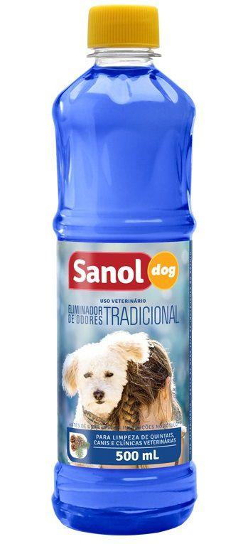 Desinfetante de Ambientes com Animais e Eliminador de Odores Fragrância Tradicional Sanol 500ml