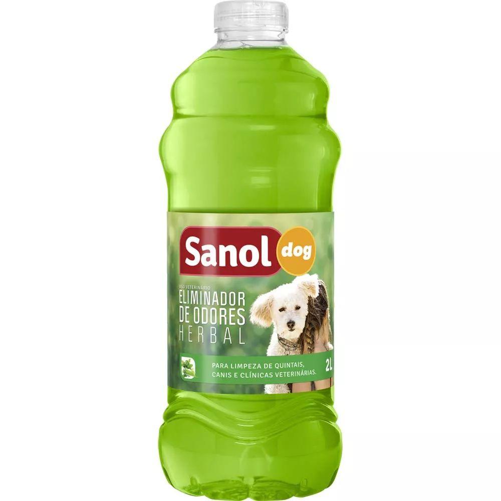 Desinfetante de Ambientes e Eliminador de Odores para Ambiente com Cachorros e Gatos Herbal Sanol 2 Litros