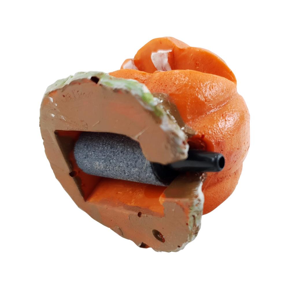Enfeite para Aquário Abóbora solta bolhas de ar com pedra porosa Vigoar
