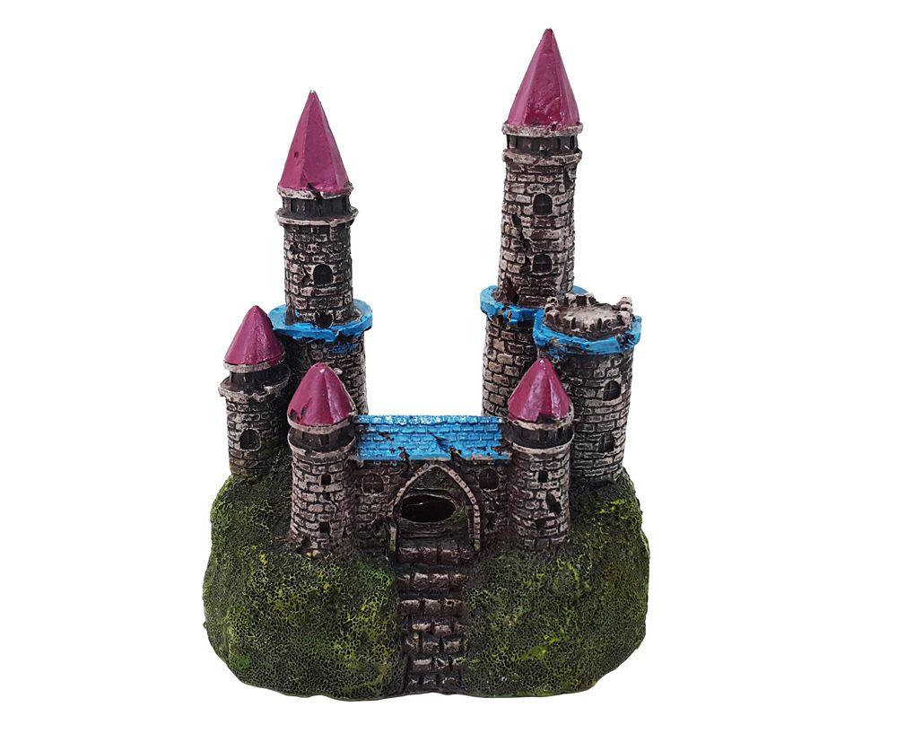 Enfeite para Aquário Castelo Led iluminado 15x12x8cm VigoAr (enfeite de aquário com luzes de led)