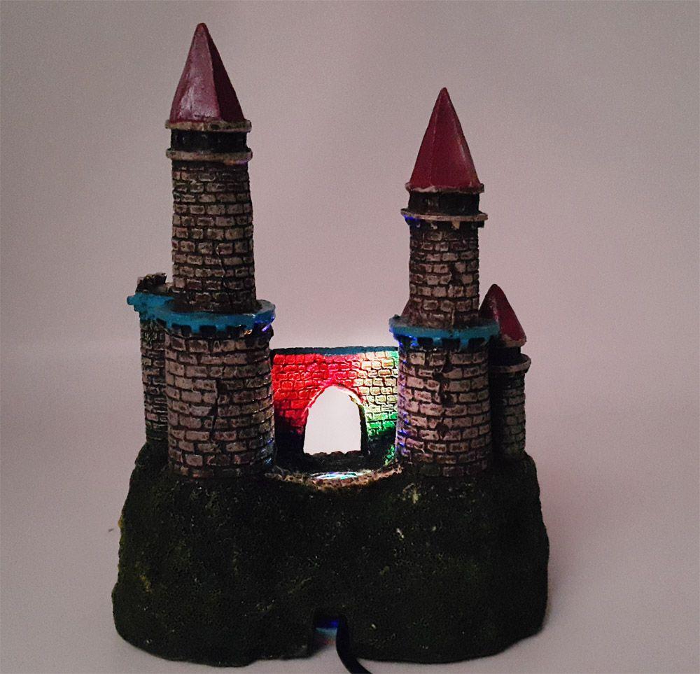 Enfeite para Aquário Castelo Led iluminado VigoAr - enfeite de aquário com luzes brilho de led 15x12x8cm