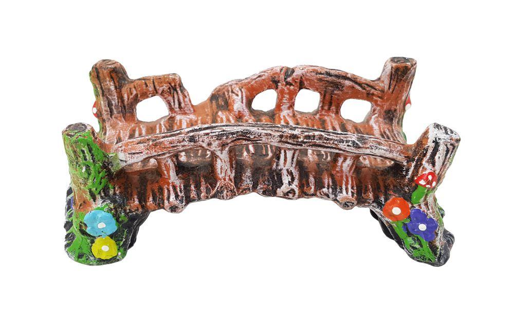 Enfeite para Aquário Ponte Média decorada Colorida 14cm x 8cm x 6cm VigAr