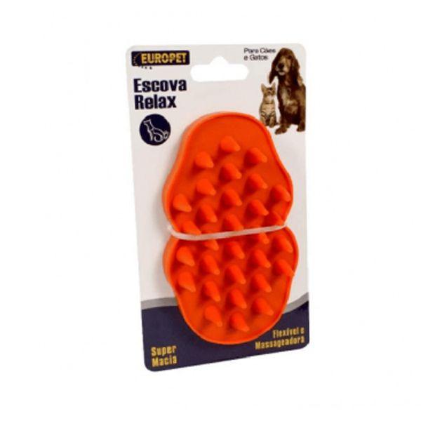 Escova massageadora para cachorro e gato Europet Pet Flex Vermelha