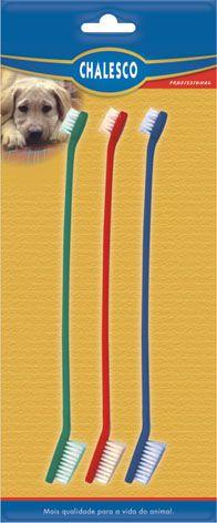 Escovas de dente para cachorro e gato Chalesco 3 unidades Dupla cabo longo Colorida