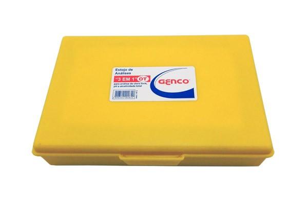 Estojo Kit de Análises Genco 3 em 1 - Kit completo para medir Cloro, PH e Alcalinidade de água