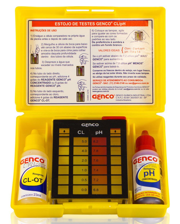 Estojo Kit para Análises de água Genco - Kit completo medir Cloro e PH de água