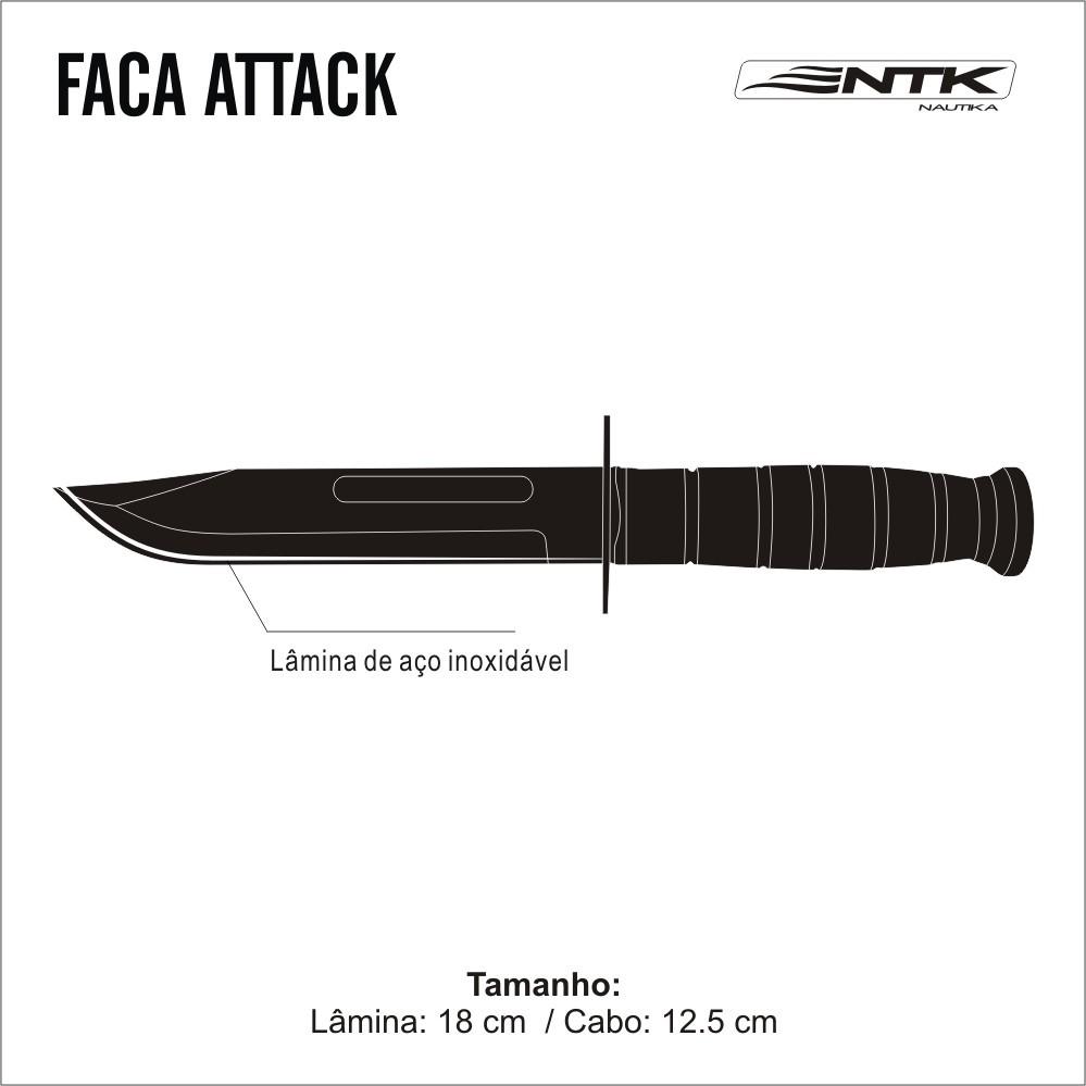 Faca Tática em Cabo de Madeira e Couro Prensado Attack NTK