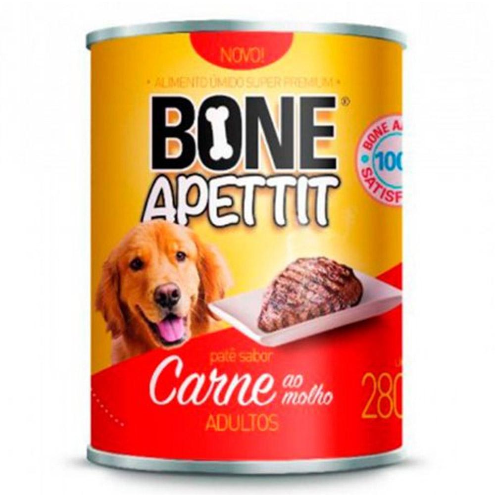 Fardo 12 Latas Alimento Úmido para Cães Sabor Carne ao molho 280g Bone Apettit (Carne ao molho para cachorro)