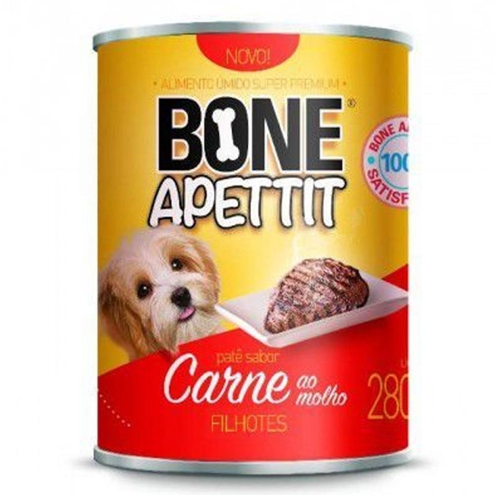 Fardo 12 Latas comida úmida carne ao molho para Cães filhotes 280g Bone Apettit
