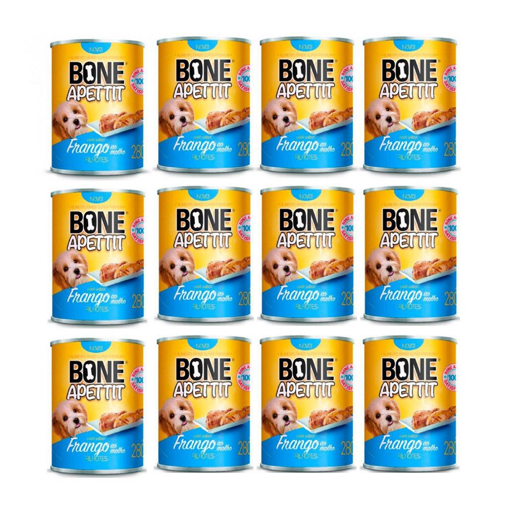 Fardo 12 Latas comida úmida frango ao molho para Cães filhotes 280g Bone Apettit