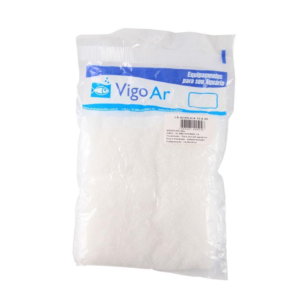 Lã Acrílica para Refil de Filtro de Aquários - Vigo Ar 25x40cm