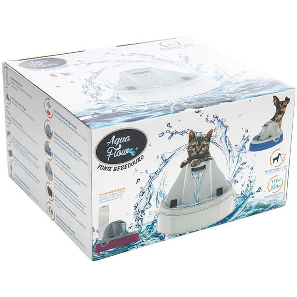 Fonte Bebedouro de água Elétrico para Cães e Gatos Amicus Aqua Flow Branca Bivolt