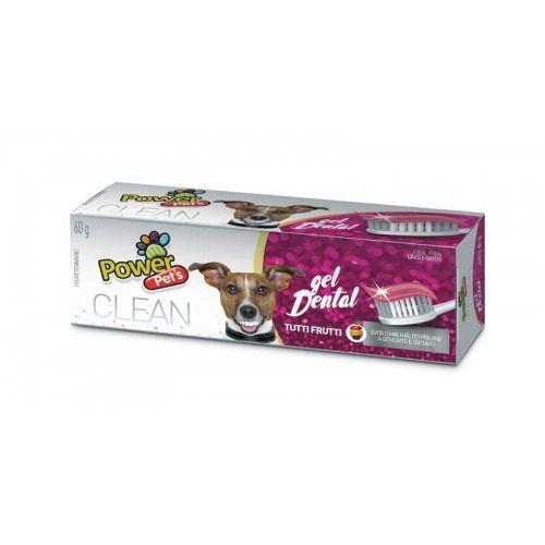 Gel dental para cães e gatos Clean Power Pets creme dental para cachorro Tutti Frutti 60g