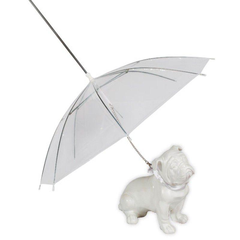 Guarda chuva para cachorro - Guarda chuva transparente para pet com guia para acoplar na coleira