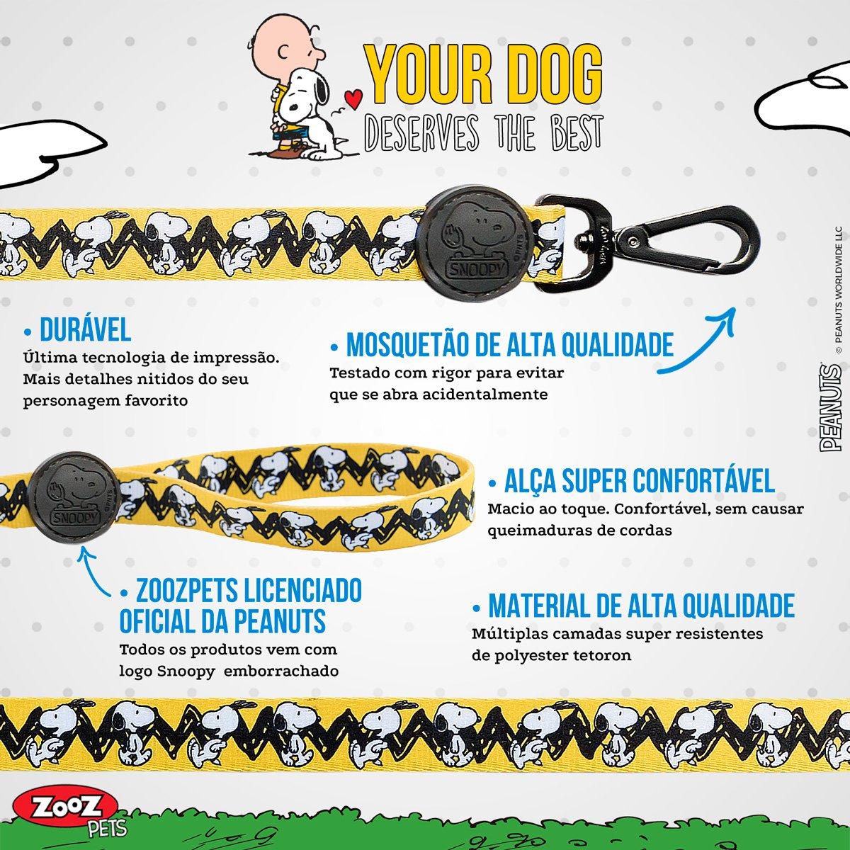 Guia para Cachorro Snoopy e Charlie Brown Amarela com mosquetão 1,20m P/M 206kg