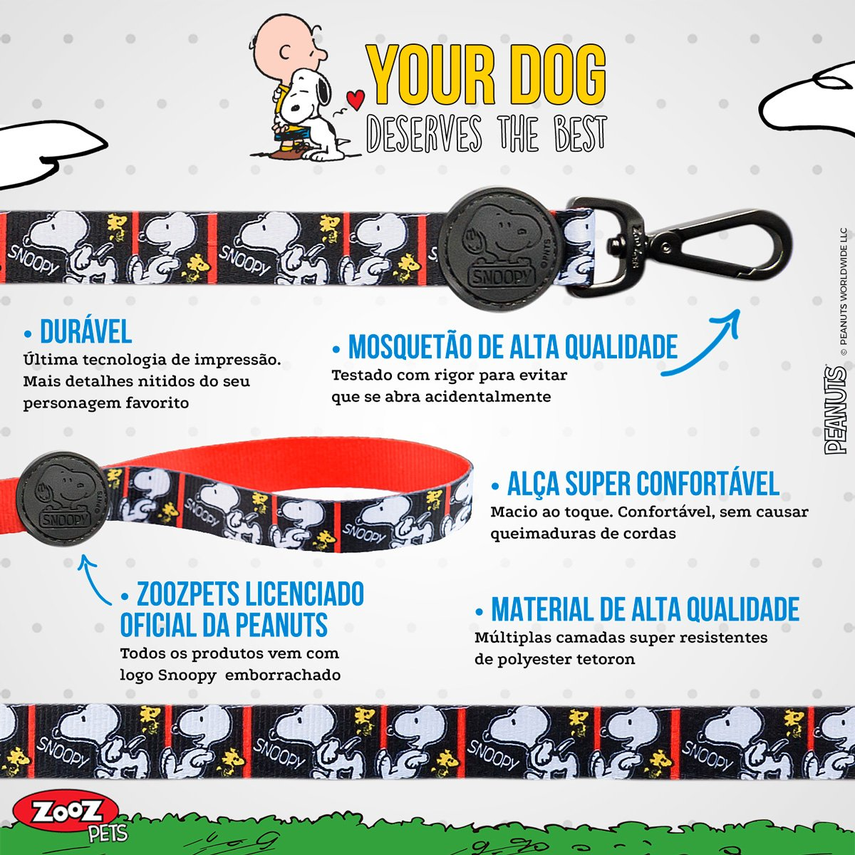 Guia para Cachorro Snoopy Film Black Quadrinhos mosquetão 1,20m G 315kg resistência Zooz Pets