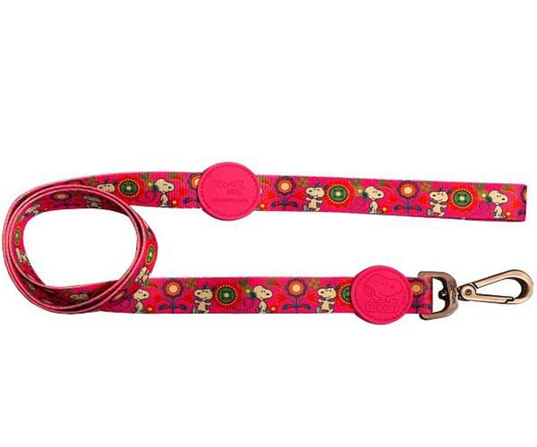 Guia para Cachorro Snoopy Pink Flower Colorida - Guia com mosquetão 1,20m P/M Snoopy Colorida Zooz Pet