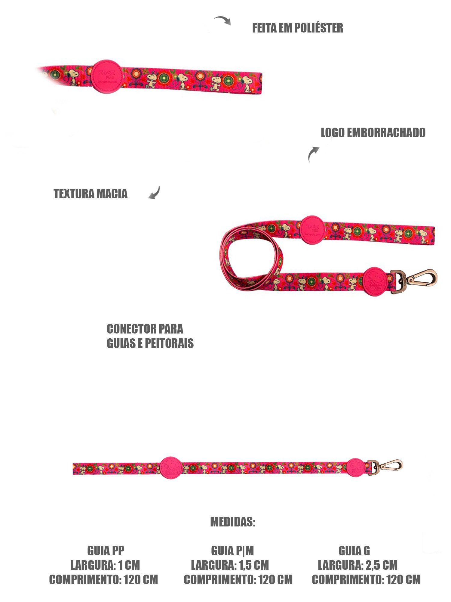 Guia para Cachorro Snoopy Pink Flower Colorida - Guia com mosquetão 1,20m P/M Snoopy Colorida Zooz Pet