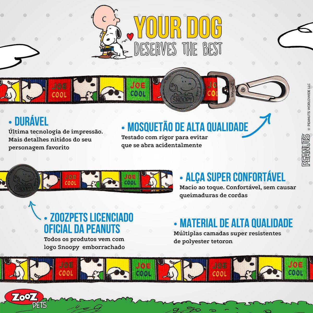 Guia para Cachorro Snoopy Quadrinhos Joe Cool - Guia com mosquetão 1,20m P/M Snoopy Colorida Zooz Pet