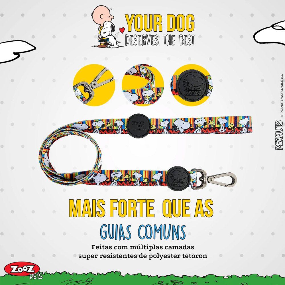 Guia para Cachorro Snoopy Stripe Colorida - Guia com mosquetão 1,20m P/M Snoopy Colorida Zooz Pet