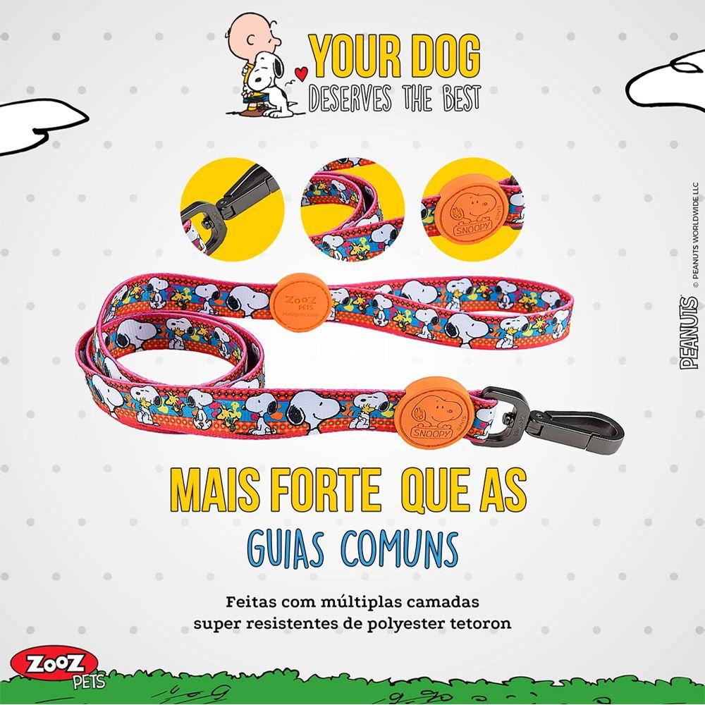 Guia para Cachorro Snoopy Unix Pink - Guia com mosquetão 1,20m P/M Snoopy Pink Zooz Pet