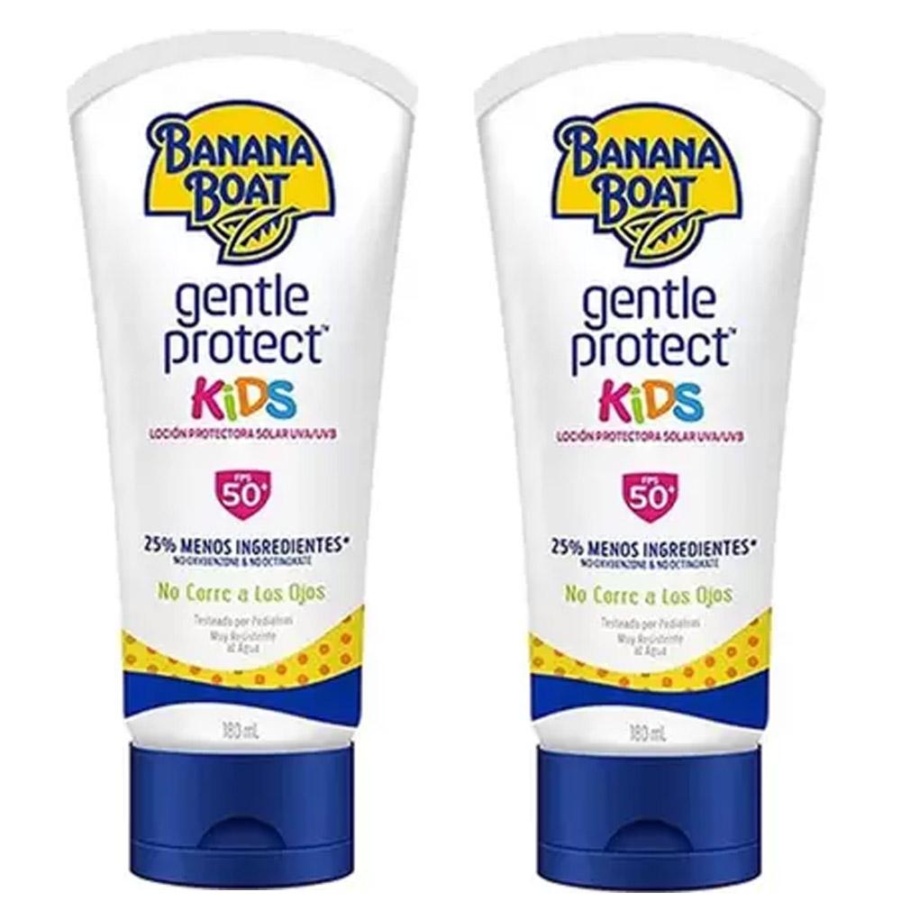 Kit 2 unidades Protetor solar infantil 50 FPS Crianças Banana Boat Gentle Protect Kids
