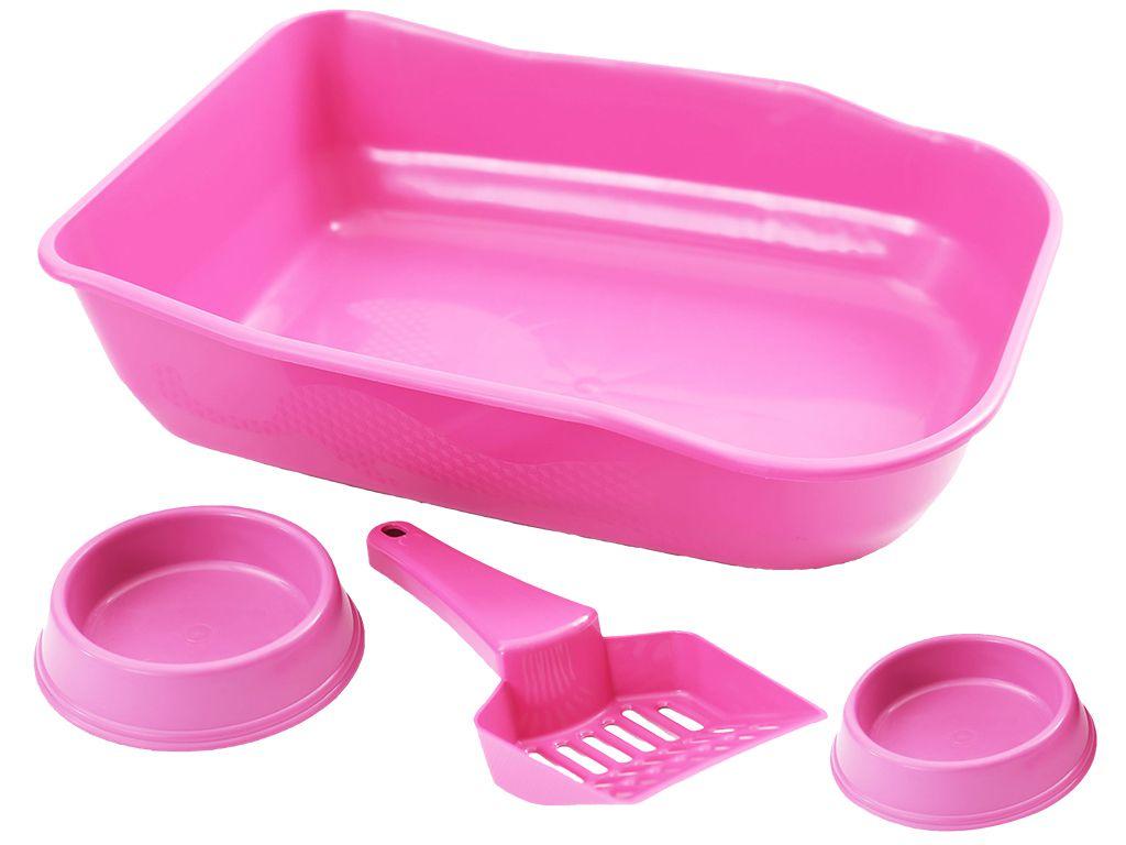 Kit Bandeja sanitária para areia higiênica de gatos, pá coletora, bebedouro e comedouro inclusos Rosa