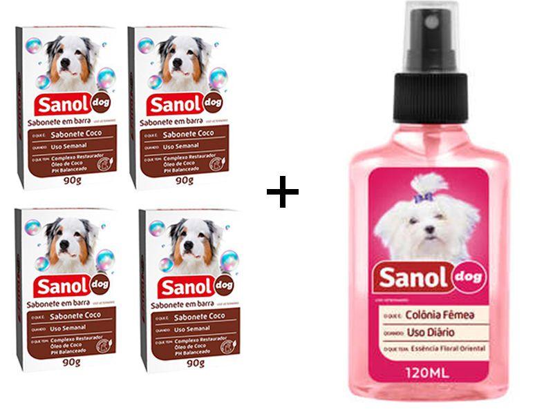 Kit Banho para Cães e Gatos 4 sabonetes em barra Côco Sabol + Colonia Perfume Cães Fêmeas