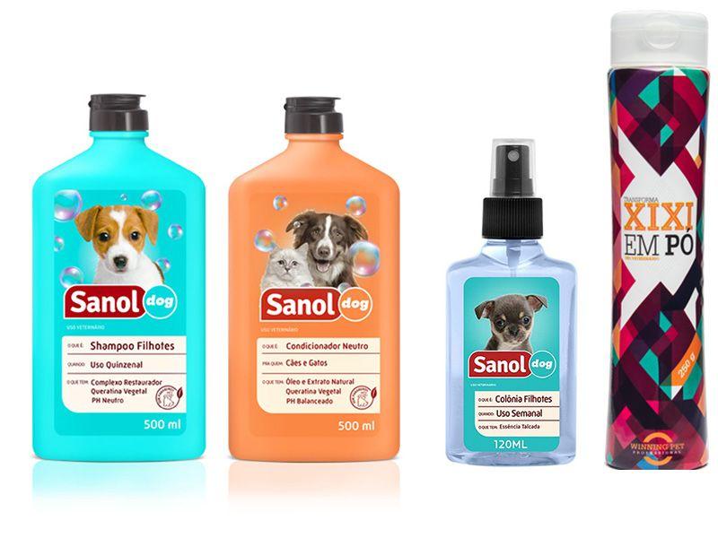 Kit Banho para cães filhotes: Shampoo, Condicionador, Perfume para cachorro  Sanol e Seca Xixi (transforma xixi em gel)