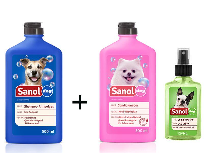 Kit Banho para cães: Shampoo Anti pulga para cachorro + Condicionador Revitalizante + Colonia Perfume Cães Macho Sanol Dog