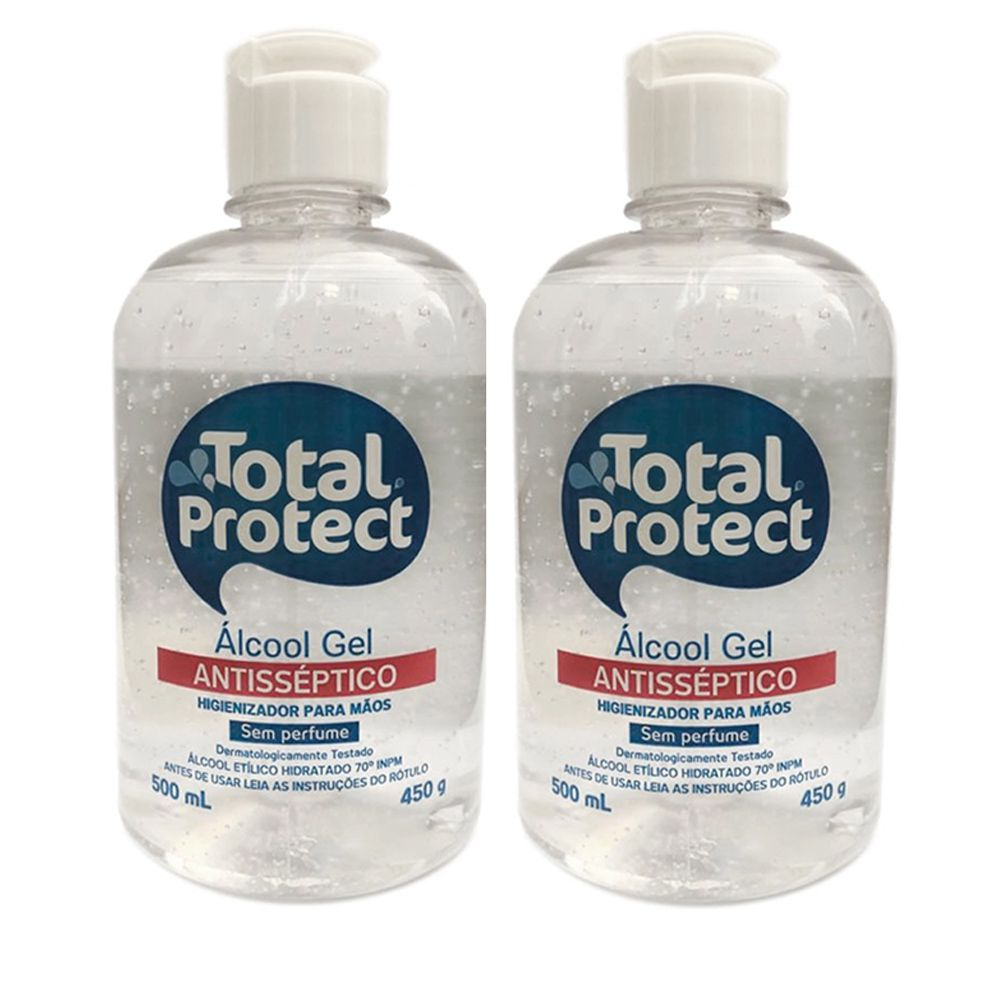 Kit com 2 Álcool em Gel 70° Total Protect 500ml Mata 99,9% das bactérias