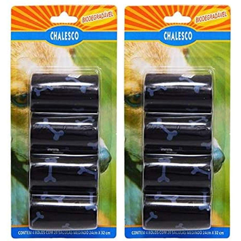 Kit com 2 Cartelas de Refil de Saquinhos Sacola Cata caca Chalesco - Sacolas Biodegradáveis pega fezes - Preto