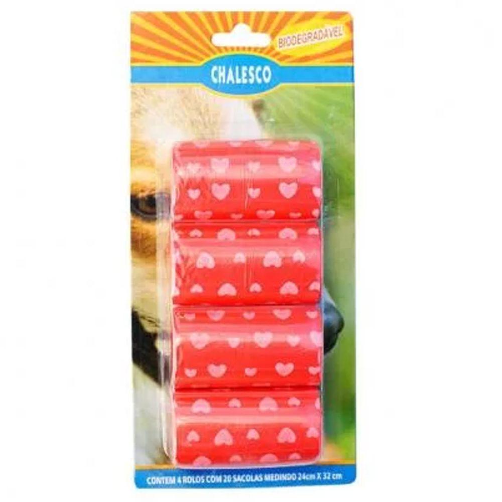 Kit com 2 Cartelas de Refil de Saquinhos Sacola Cata caca Chalesco - Sacolas Biodegradáveis pega fezes - Vermelho
