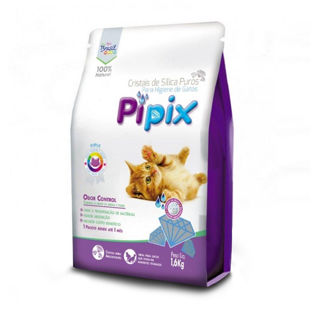 Kit com 3 Areia Sanitária para Gatos Micro Cristais de Sílica Pipix 1,6Kg Super Absorção