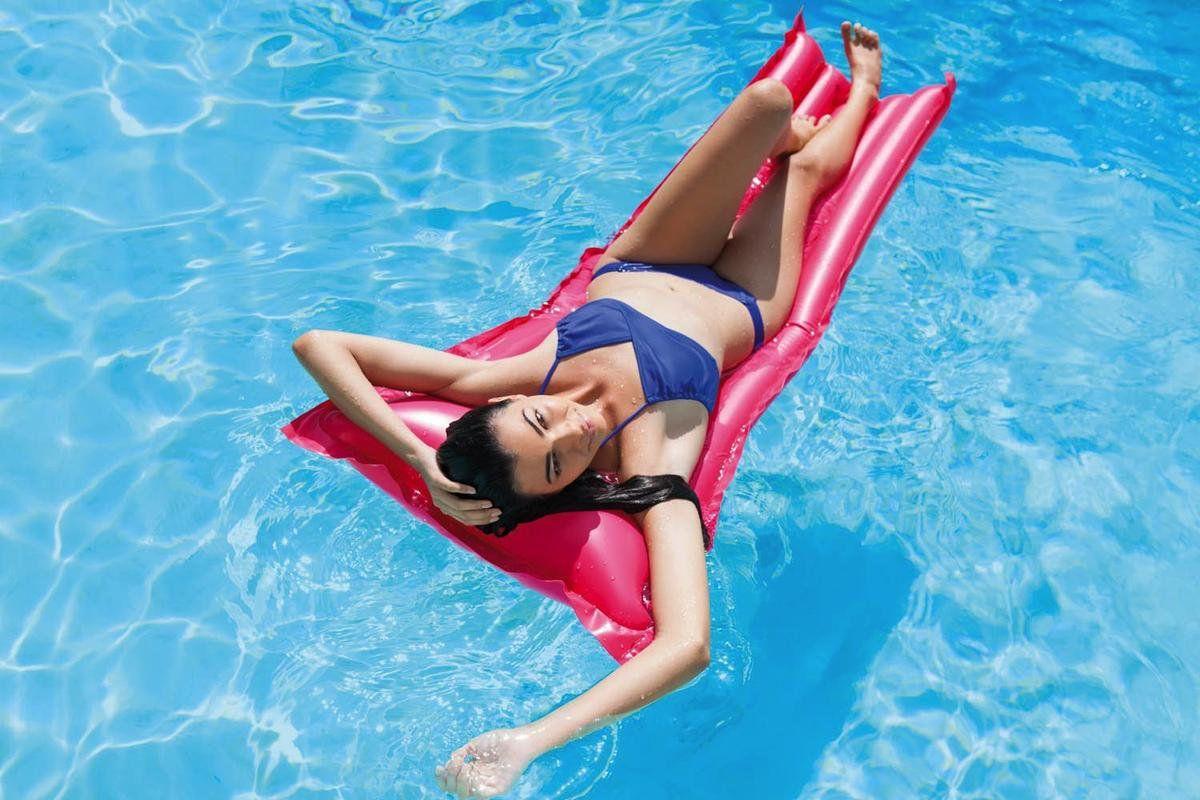 Kit com 3 Boia Colchão de piscina - Colchão inflável Bronzeador Liso Azul, Rosa, Verde 1,83m X 69cm Intex 59703