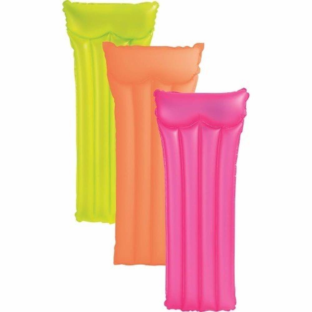 Kit com 3 Boia Colchão de piscina - Colchão inflável Bronzeador Neon Amarelo, Rosa, Laranja 1,83m X 76cm Intex 59717